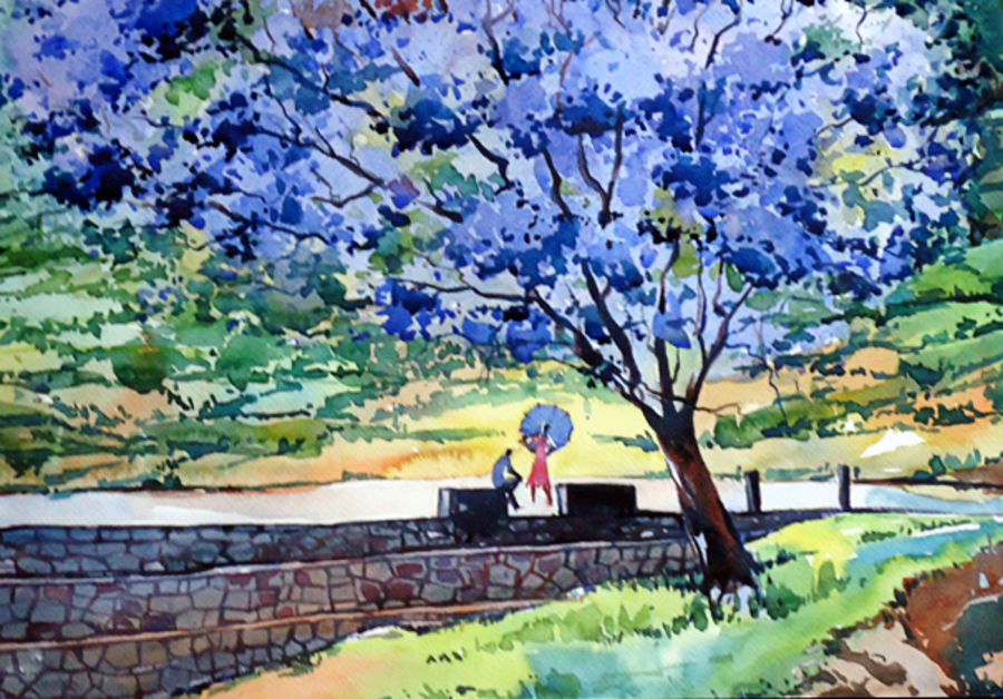 chatting, 21 x 15 inch, raji p,paintings,flower paintings,landscape paintings,nature paintings,impressionist paintings,paintings for dining room,paintings for living room,paintings for bedroom,paintings for office,paintings for kids room,paintings for hotel,canson paper,watercolor,21x15inch,GAL059012658Nature,environment,Beauty,scenery,greenery,chatting size - 21x15in,ADR959012658