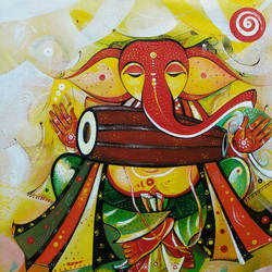 Musician Ganesha with brown dhol  size - 12x12In - 12x12