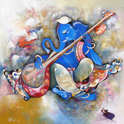 Musician Ganesha with long Sitar size - 48x48In - 48x48