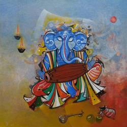 Musician Ganesha 3 size - 36x36In - 36x36