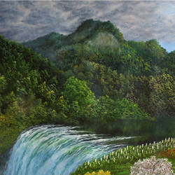 Mountain Range Waterfall size - 30x18In - 30x18