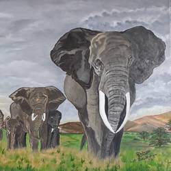 Herd of Tusker  size - 36x24In - 36x24
