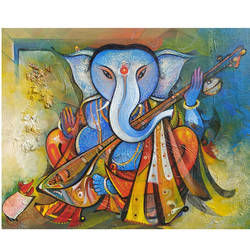 Ganesha in love of music  size - 20x16In - 20x16