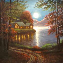 moonlight lake size - 9x12In - 9x12