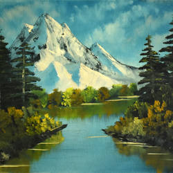 Snow Mountain in Green size - 15.5x12In - 15.5x12