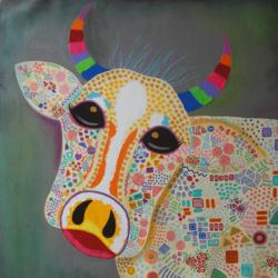 Humma Cow !! Pop Art size - 30x30In - 30x30