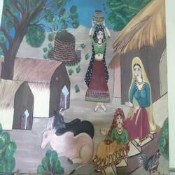 Rajasthan villege size - 30x36In - 30x36