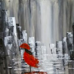 Girl in a Beautiful Rainy Night - Knife size - 24x18In - 24x18