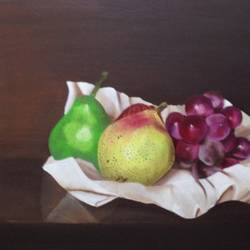 Still life with fruits and drapery size - 20x16In - 20x16