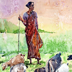 LADY WITH HER GOATS size - 15x21In - 15x21