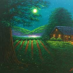 The Moonlight Harvest in the Village size - 12x16In - 12x16