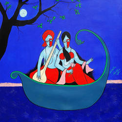 Radha krishna Into the River size - 23x23In - 23x23