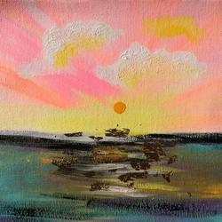 Abstract !! Pink Sunset !! size - 9.7x8.8In - 9.7x8.8