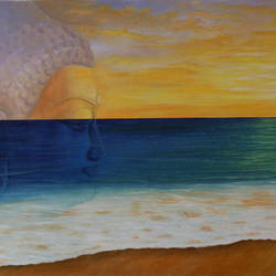 Buddha in Meditation - Unifying with nature size - 24x18In - 24x18