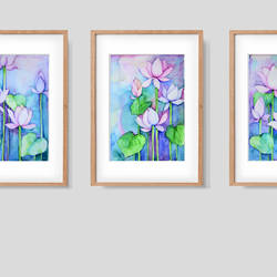 Set of 3 - Water colour Lotus . size - 5x8In - 5x8