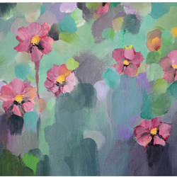"""Small Abstract floral  in acrylic- """"Floral Story-II"""" size - 9x7In - 9x7"""