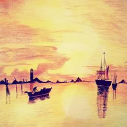 Sunset scenery  size - 11.69x16.53In - 11.69x16.53