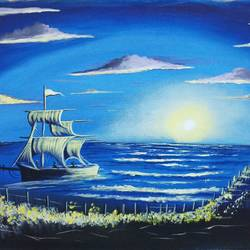 Beautiful skyview with Boat at night  size - 18x24In - 18x24