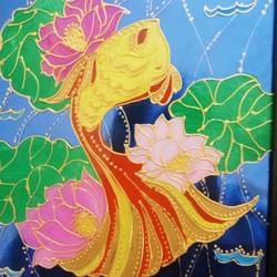 Fish in lotus pond size - 8x10In - 8x10