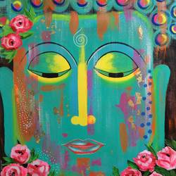 Buddha with Roses !! size - 20x24In - 20x24
