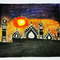 Mosque and sunset size - 8.2x11.4In - 8.2x11.4