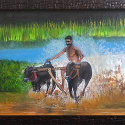 Kerala Bull Race Water colour size - 16.5x11.5In - 16.5x11.5