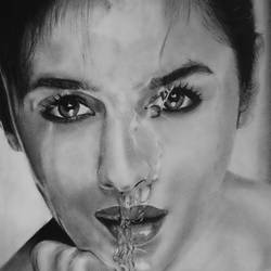 Actress Alia Bhatt Charcol pencil size - 10x11In - 10x11