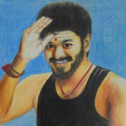 Tamil Film actor Vijay Colour pencil size - 10x12In - 10x12