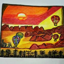 Hot Air Balloon Over the Hill Side size - 10.8x13.6In - 10.8x13.6