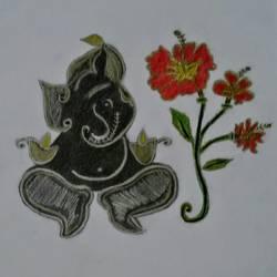 Ganesha or Vinayakar Art size - 8.2x11.4In - 8.2x11.4