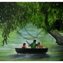 Water Colour  of Kerala Kuttavanchi and Tourists size - 16.5x11.5In - 16.5x11.5