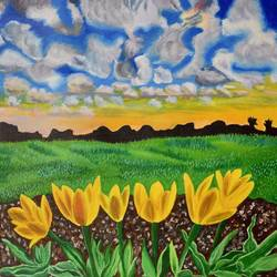 Morning flowers size - 22x15In - 22x15