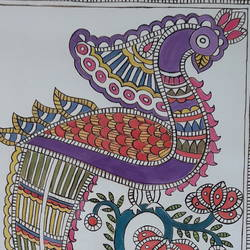 Madhubani Paintings Peacock size - 14x22In - 14x22