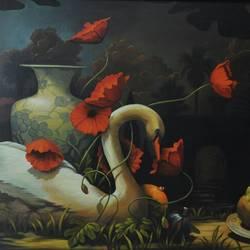 FLOWERS & A SWAN size - 39.5x33.5In - 39.5x33.5