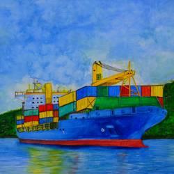 Cargo Ship Watercolour size - 16.5x11.5In - 16.5x11.5