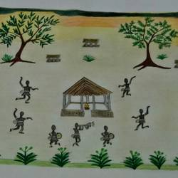 Village Tribal Dance size - 10.8x13.6In - 10.8x13.6