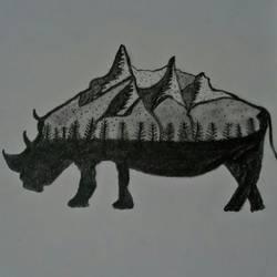 Rhino Modern Animal Art size - 8.2x11.4In - 8.2x11.4