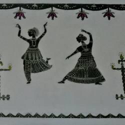 Bharatanatyam Dance Art size - 8.2x11.4In - 8.2x11.4