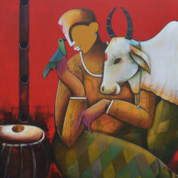 conversation with bird 2 size - 36x42In - 36x42