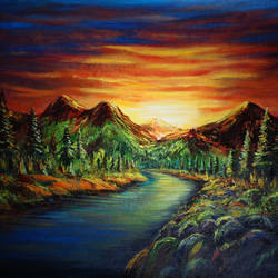 Sunset in the valley size - 24x18In - 24x18