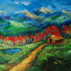 Nature Painting Autumn in the valley size - 24x14In - 24x14