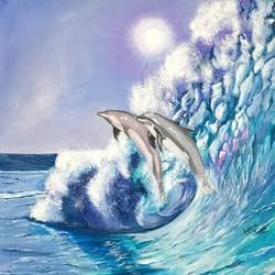 Dolphins  size - 16x16In - 16x16