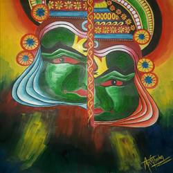 Kerala mural painting with acrylics size - 11x14.4In - 11x14.4