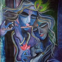 Radha Krishna love painting size - 11x14.4In - 11x14.4