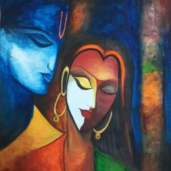 Radha krishna painting size - 11x13In - 11x13