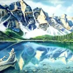 Landscape, Lake moraine size - 48x36In - 48x36