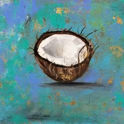 Coconut !! Still Life Painting !! size - 11.9x7.9In - 11.9x7.9