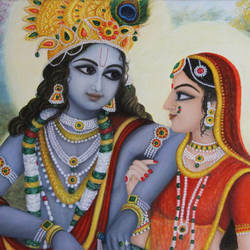 Radha Krishna Oil Painting size - 24x16In - 24x16