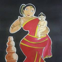 Traditional woman painting size - 10x14In - 10x14
