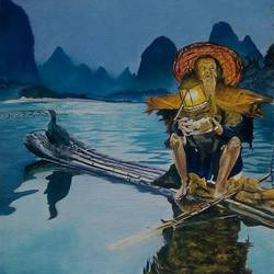 Chinese Cormorant Fisherman  size - 16x24In - 16x24